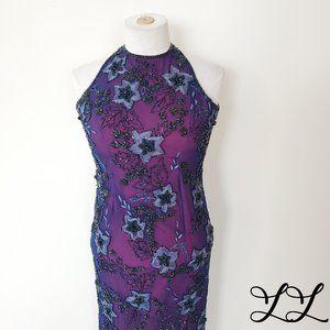 Cache Dress Silk Purple Pink Beads Long Halter